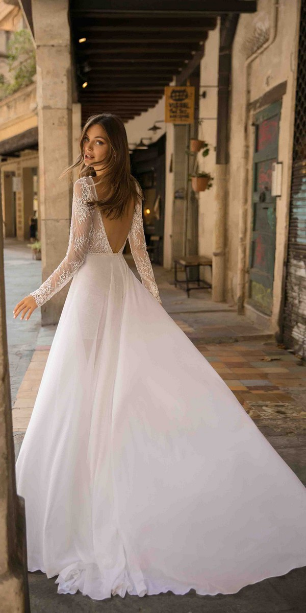 MUSE by Berta Dani Wedding Dress with long lace sleeves 2019 Barcelona Collection