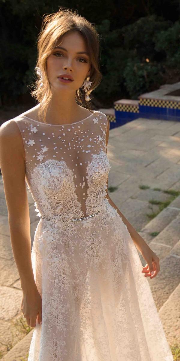 MUSE by Berta Danielle Illusion Neckline Wedding Dress 2019 Barcelona Collection