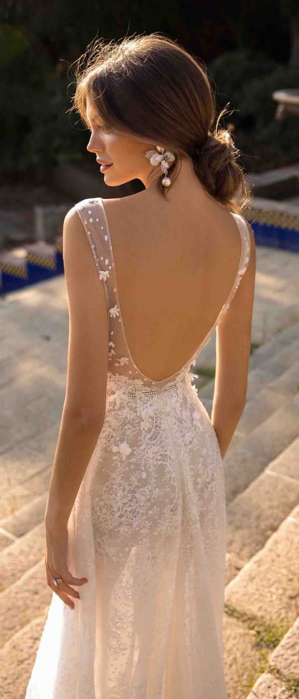 MUSE by Berta Danielle Wedding Dress with Open Back 2019 Barcelona Collection