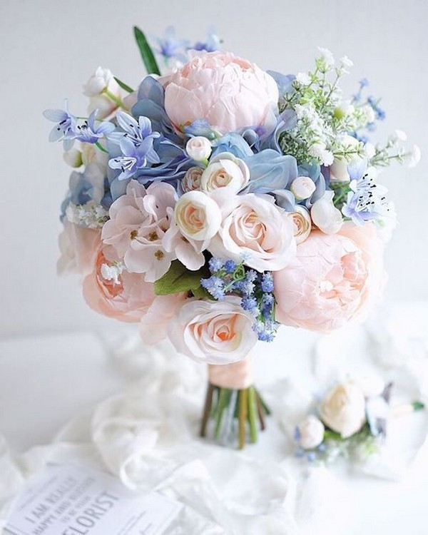 Blush And Blue Wedding Bouquet For Spring Summer 2019