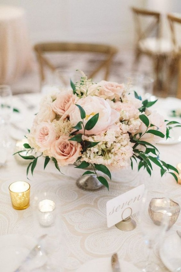 blush pink spring wedding centerpiece ideas