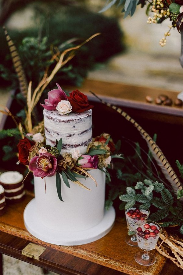 boho chic wedding cake for fall and winter