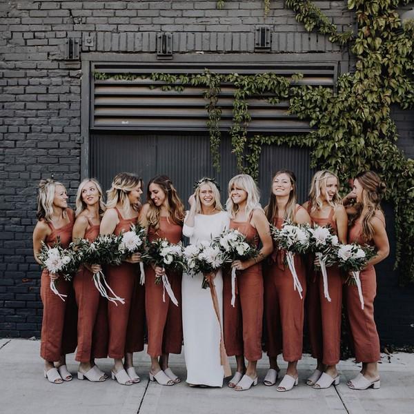 burnt orange jumpers as bridesmaid dresses