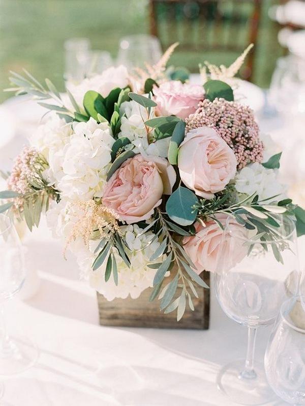 chic blush pink spring wedding centerpiece ideas