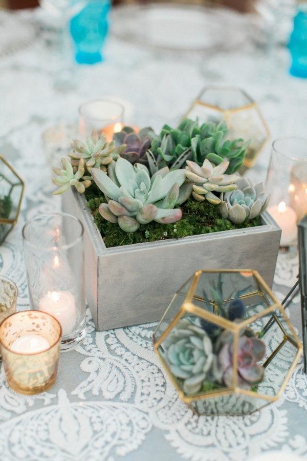 chic industrial geometric terrarium and succulents spring wedding centerpiece