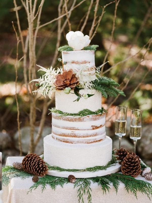 chic rustic winter wedding cake