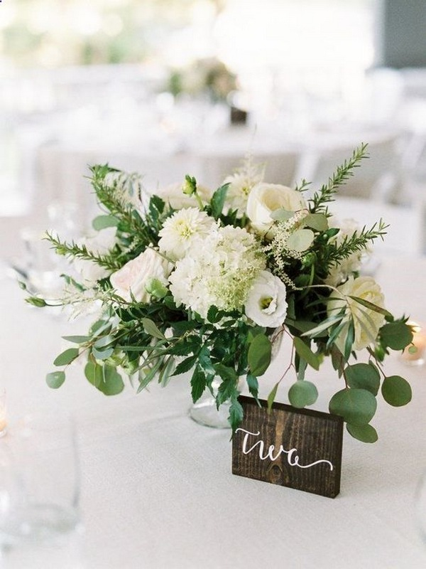 chic white and greenery spring wedding centerpiece