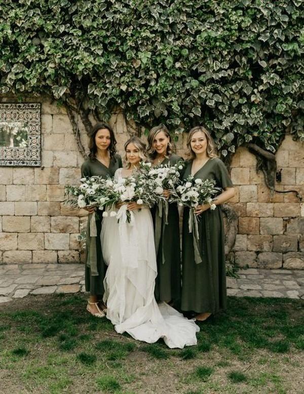 deep sage bridesmaid dresses
