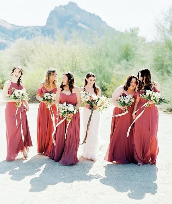 dusty rose bridesmaid dresses from Jenny Yoo