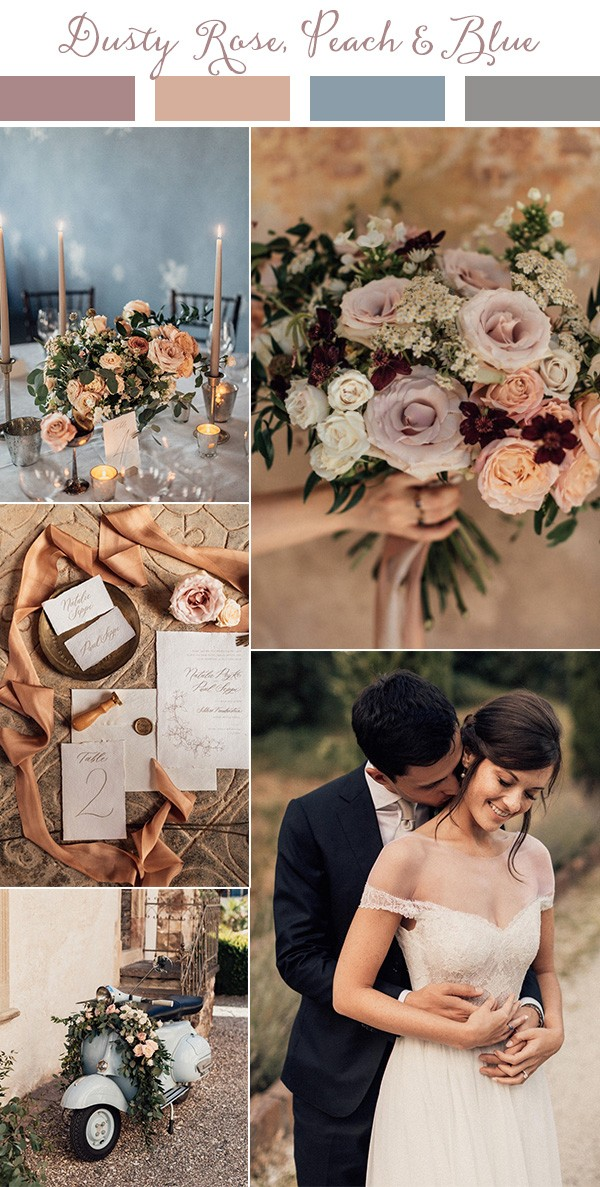 dusty rose peach and blue wedding color ideas for 2019