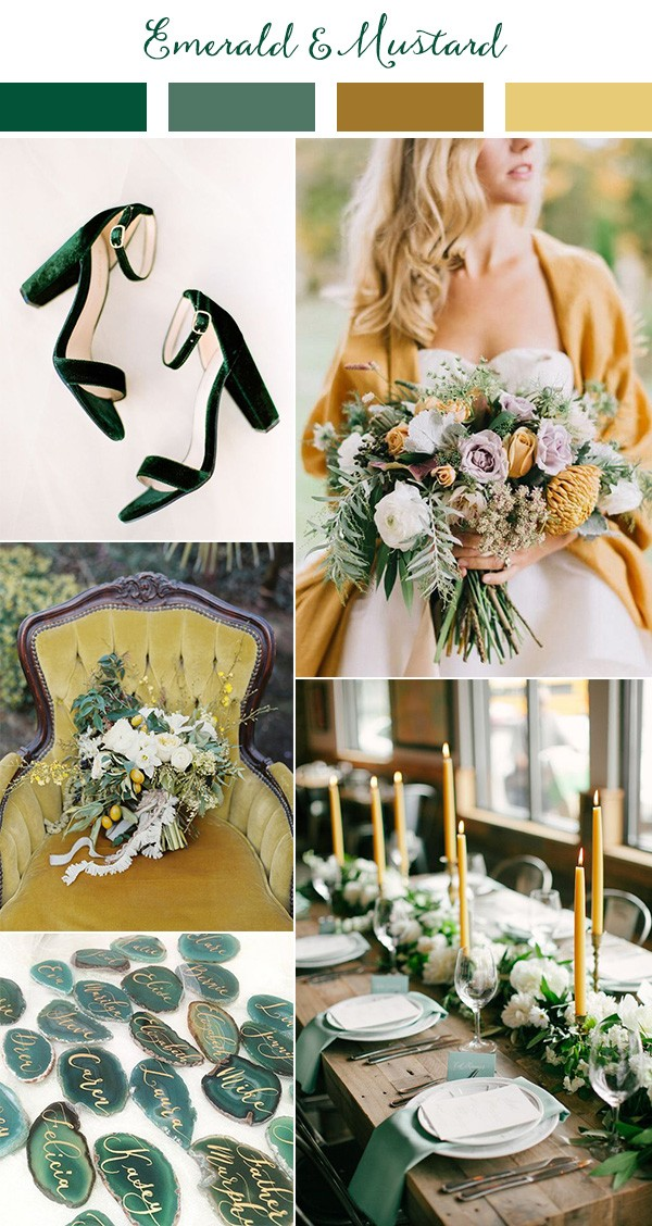 Emerald Green And Mustard Yellow Wedding Colors For 2019 Trends
