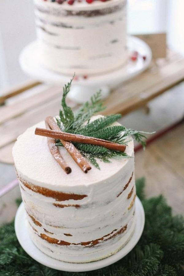 evergreen winter wedding cake
