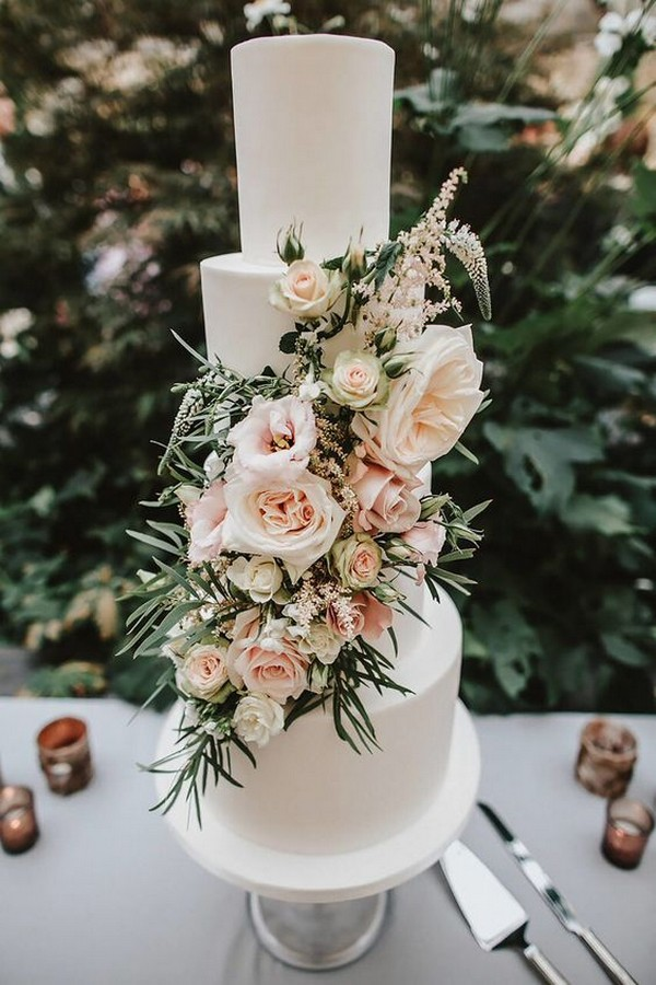floral decorated wedding cake ideas