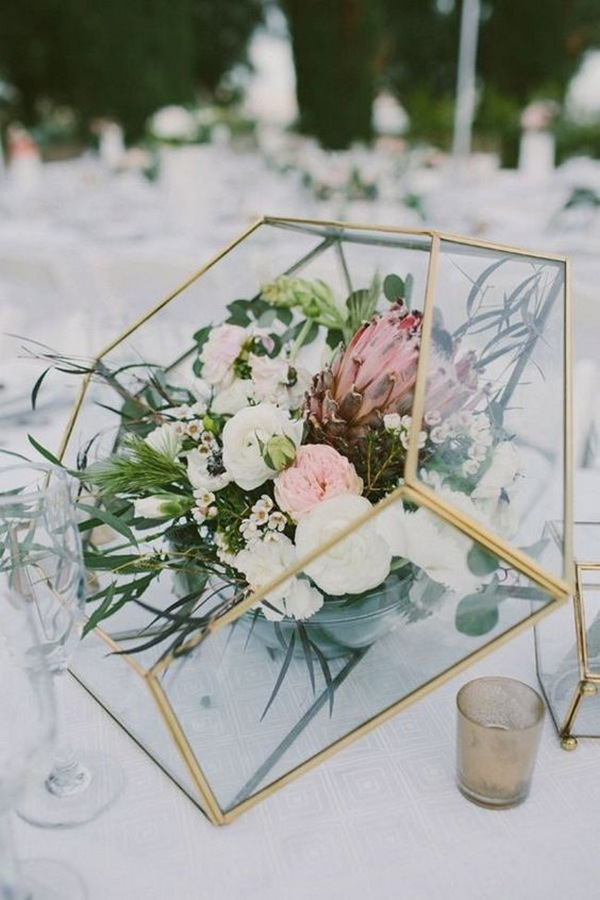 Geometric Spring Wedding Centerpiece Ideas Emmalovesweddings