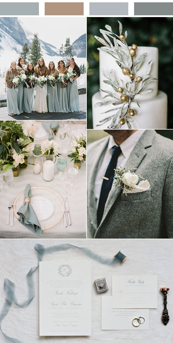 green jade and brown winter wedding color ideas