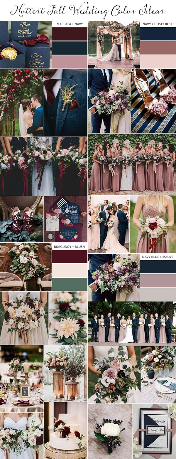 hottest fall wedding color ideas for 2018 and 2019
