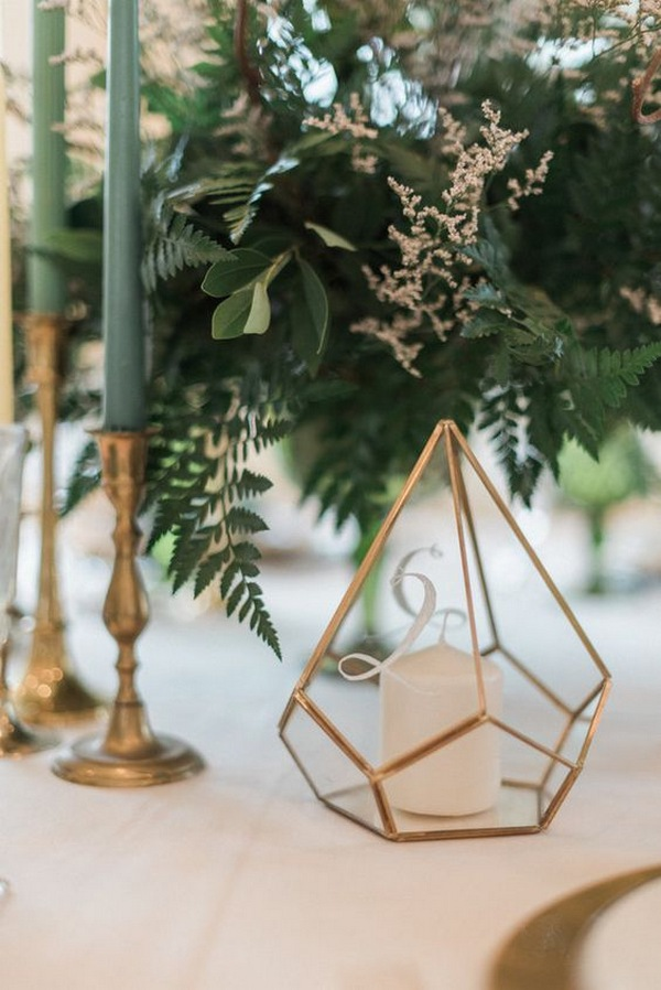 industrial emerald and gold wedding centerpiece