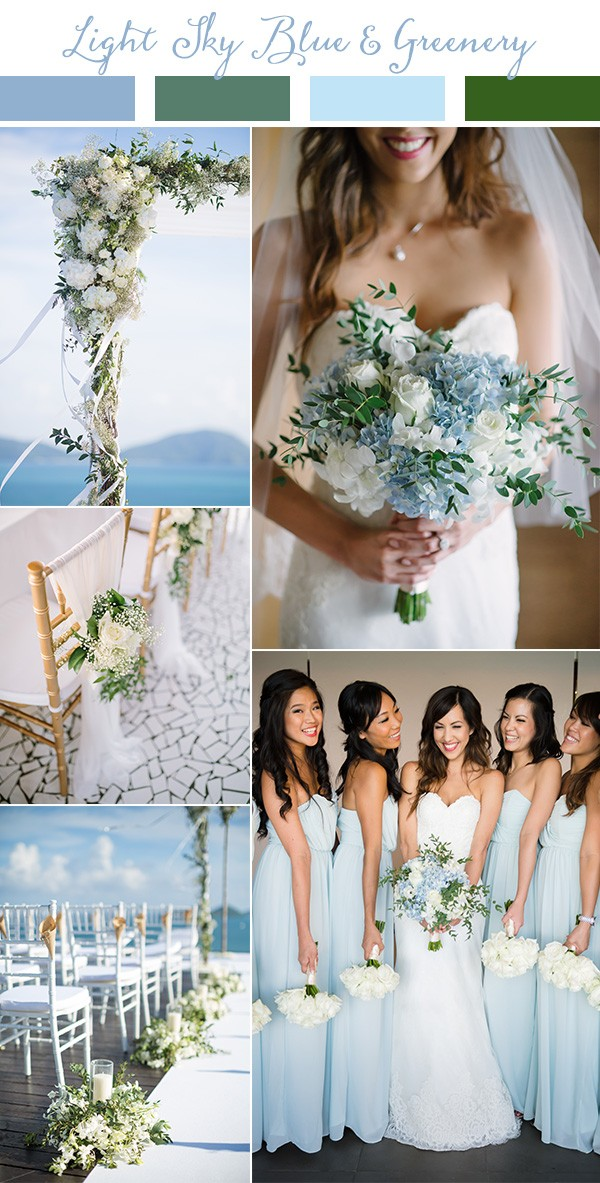 light sky blue and greenery wedding color ideas for spring and summer 2019
