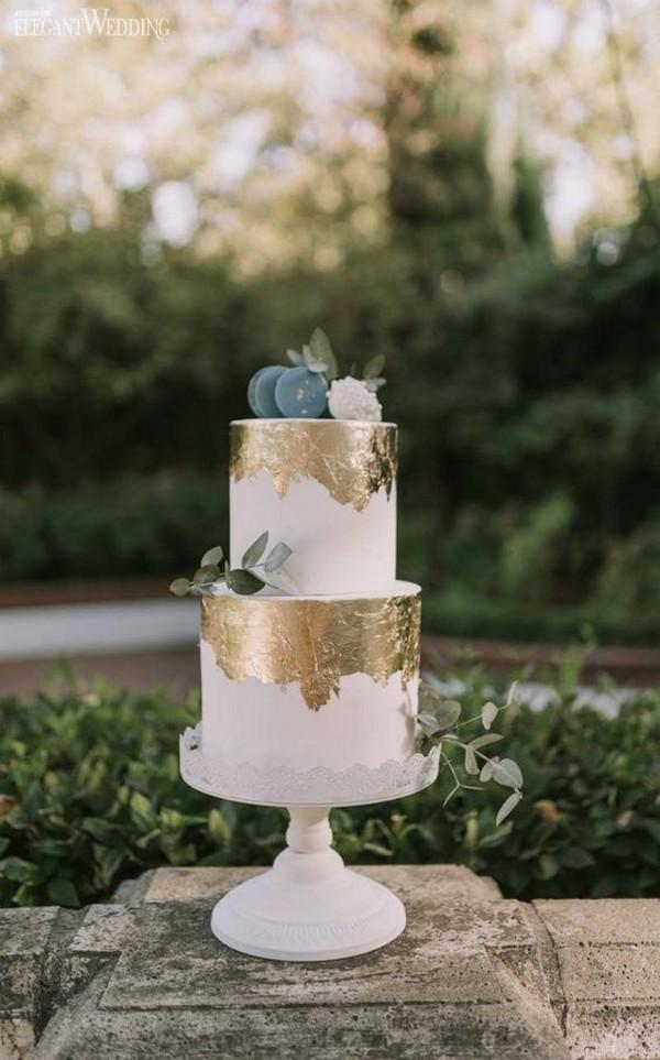 metallic gold and blue wedding cake ideas
