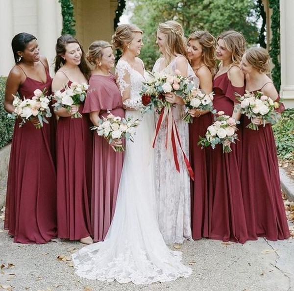 mismatched dusty rose bridesmsaid dresses