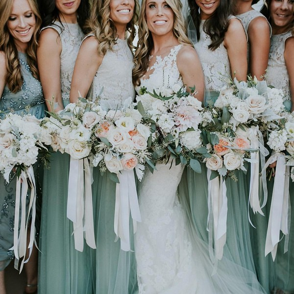 mist tulle skirts for bridesmaids