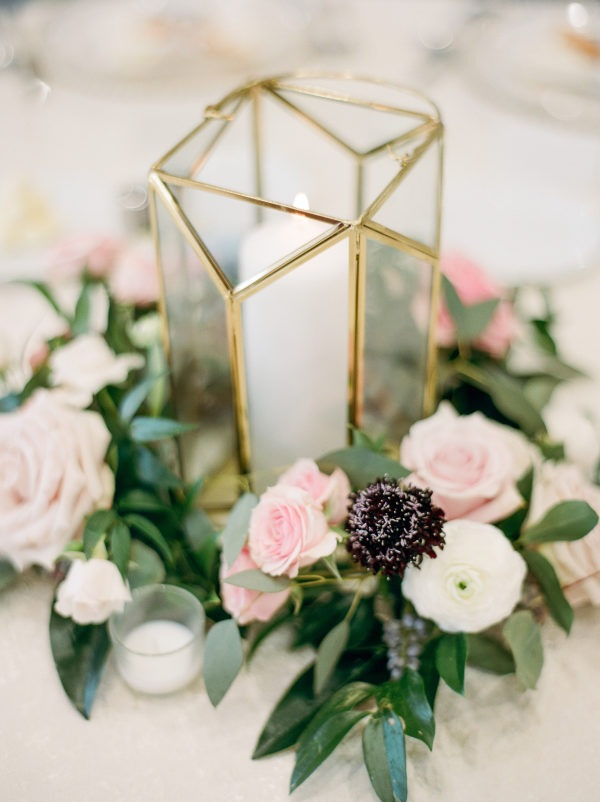 modern blush and gold wedding centerpiece for spring
