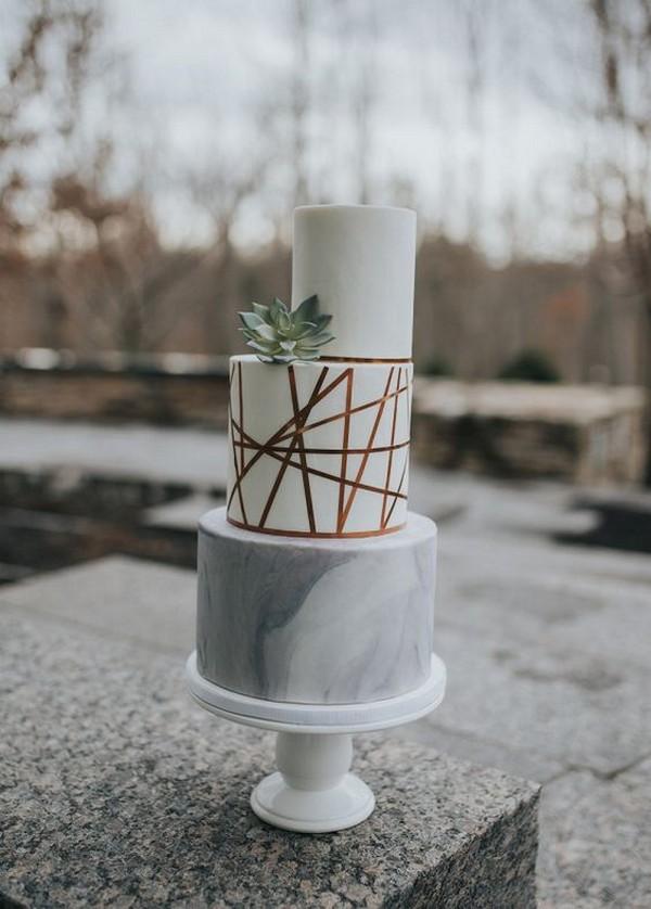modern marble and metallic wedding cake