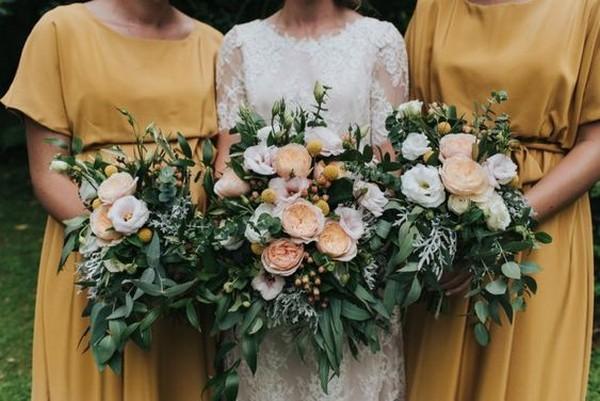 mustard yellow bridesmaid dresses