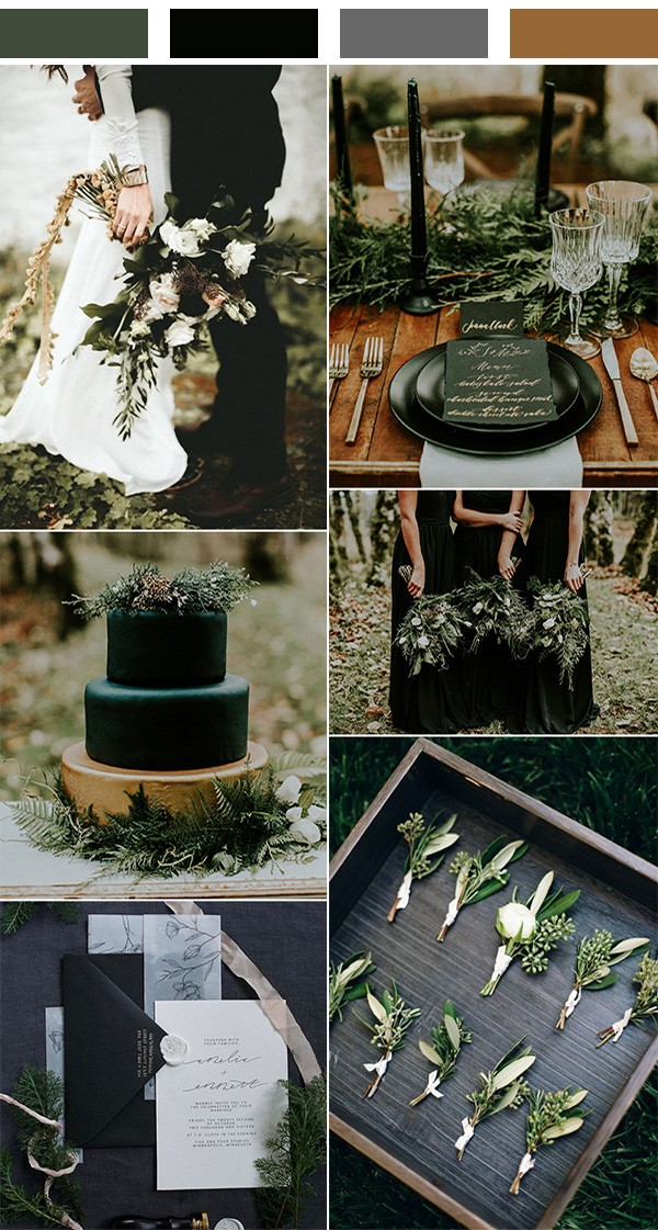 olive and black winter woodsy wedding color ideas