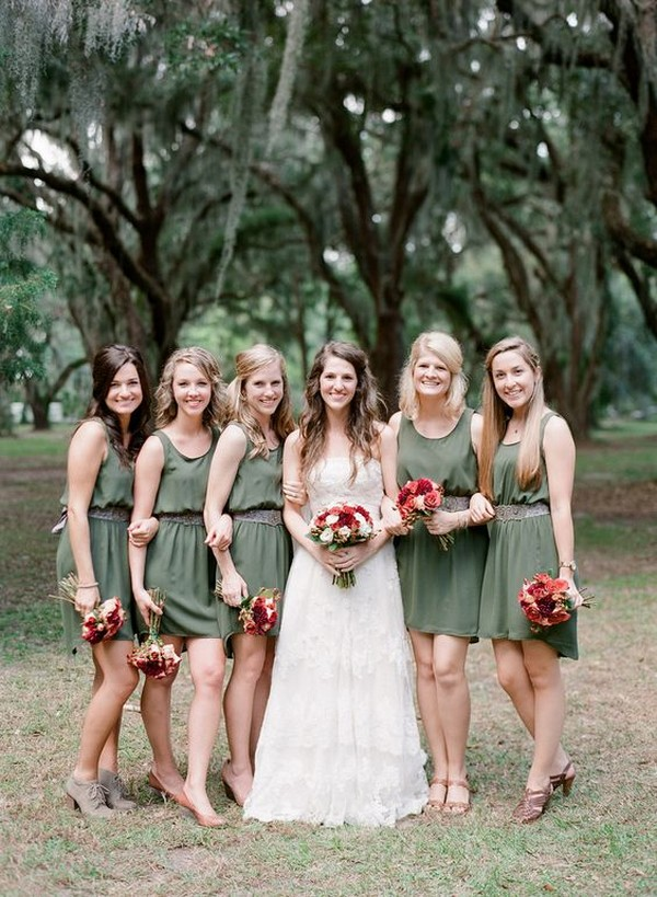 olive green bridesmaid dresses 2
