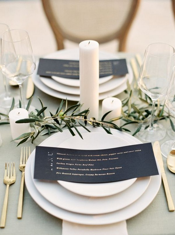 olive green wedding table settings
