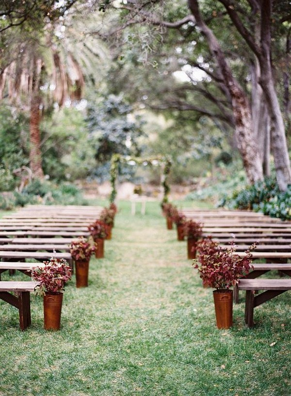 outdoor fall wedding aisle decoration ideas