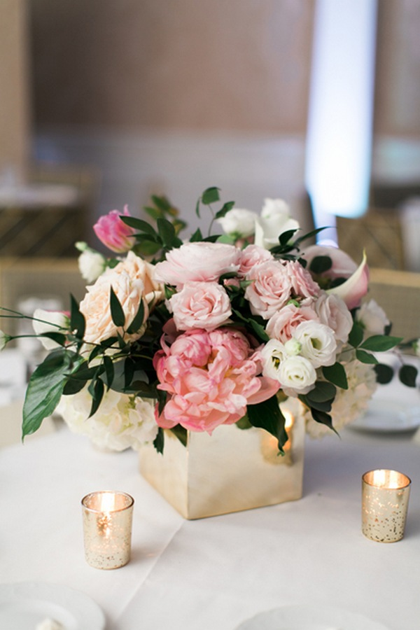 pink and gold spring wedding centerpiece ideas