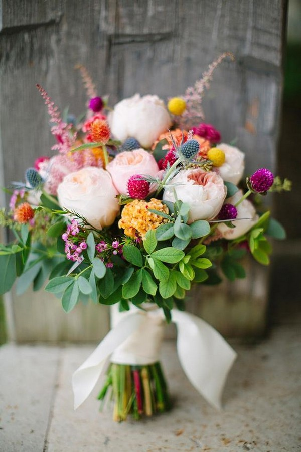 purple and pinks summer spring wedding bouquet ideas