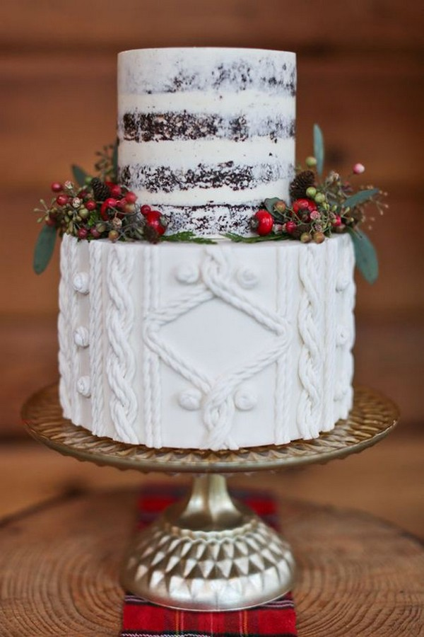 red green and white winter wedding cake