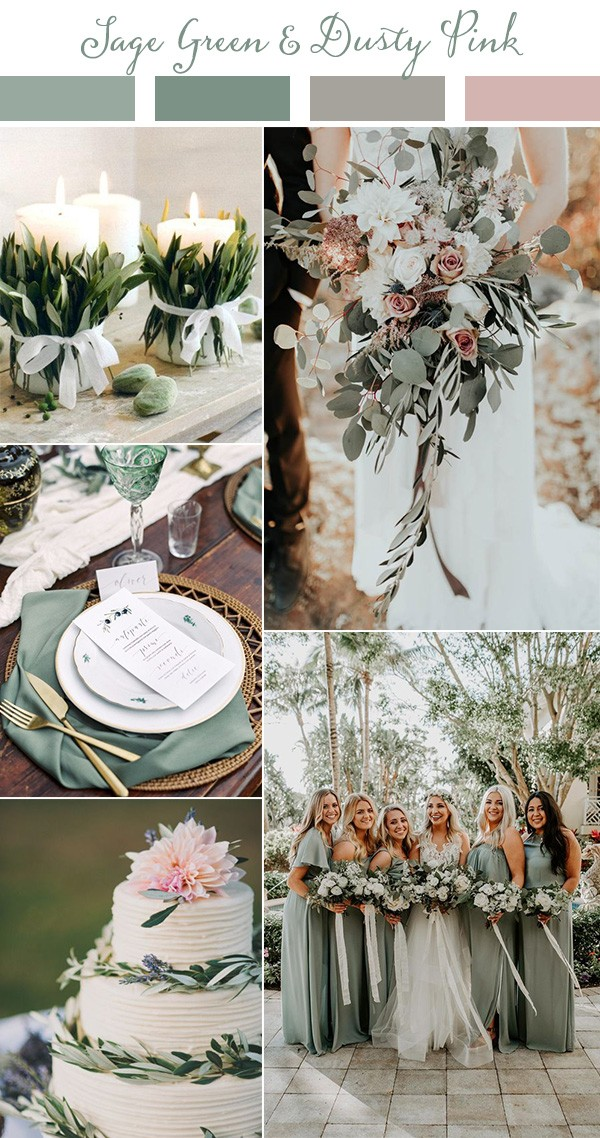 sage green and dusty pink wedding colors for 2019