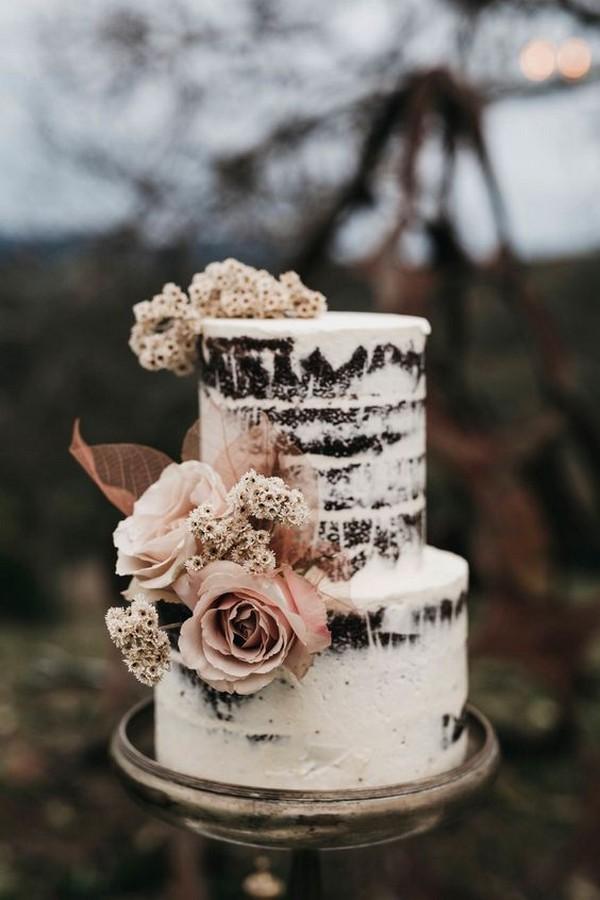 semi naked wedding cake with blush roses