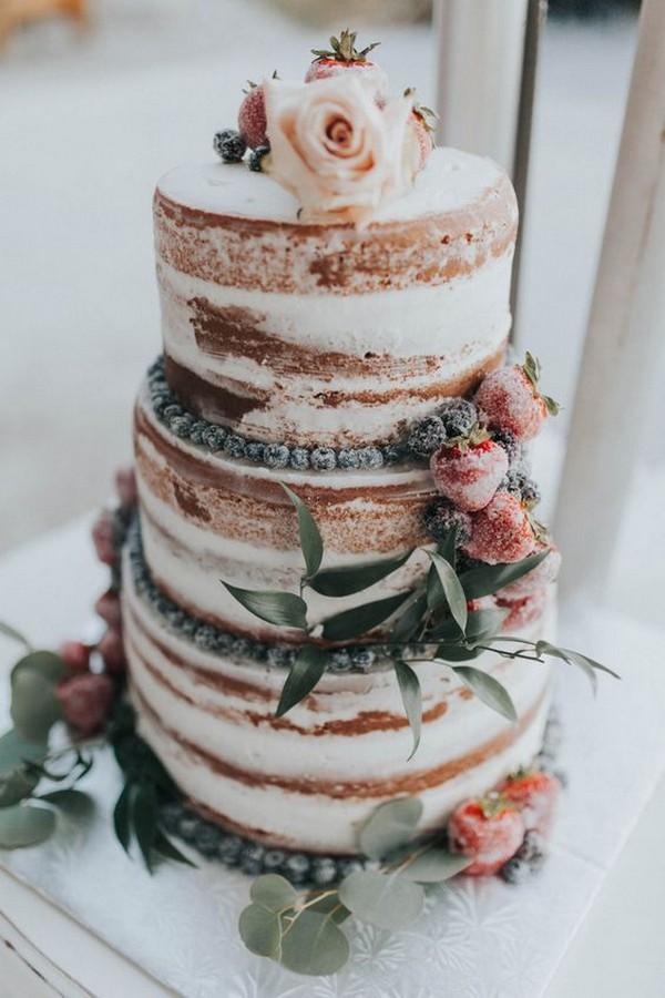 semi naked wedding cake with fruits