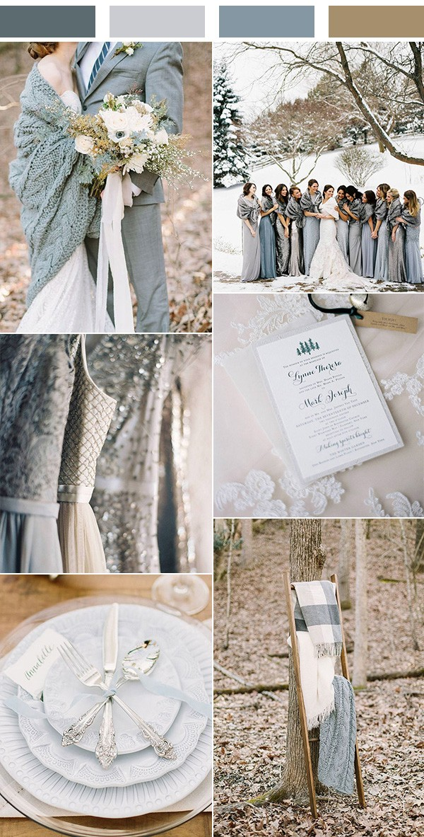 shades of grey and blue winter wedding color ideas
