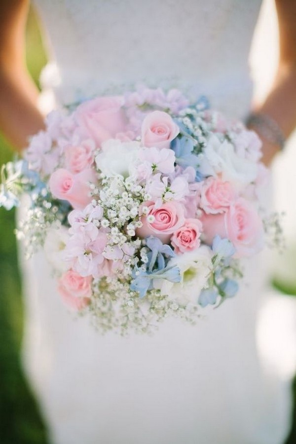 shades of pink and blue spring summer wedding bouquet