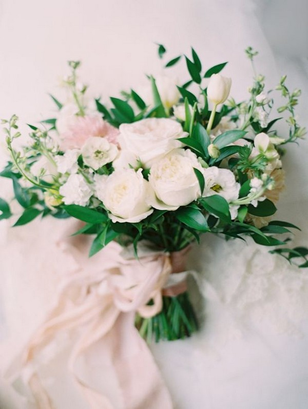 soft roses wedding bouquet ideas