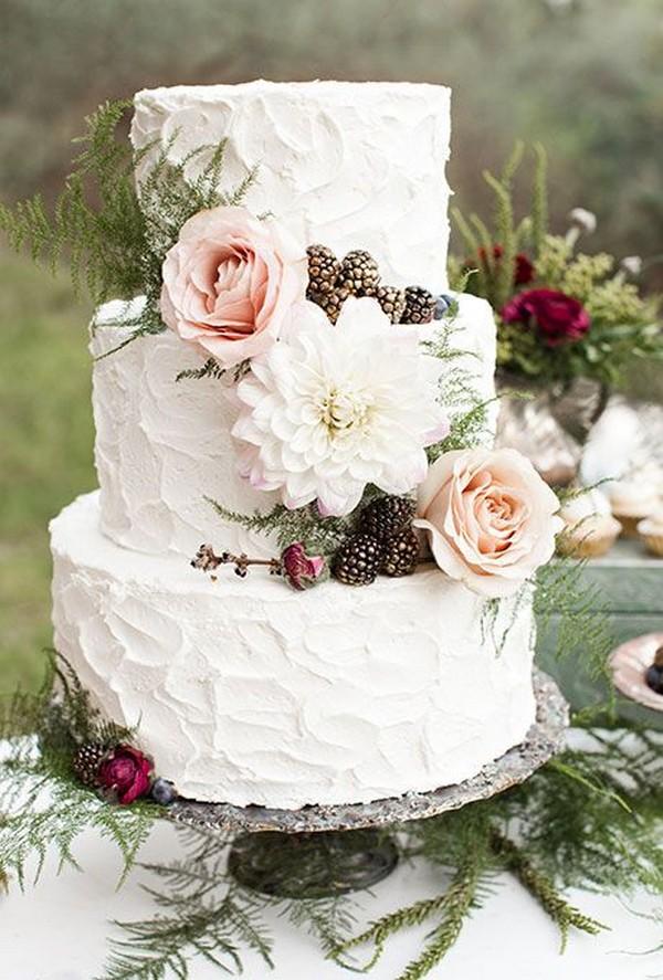 three tiered winter wedding cake