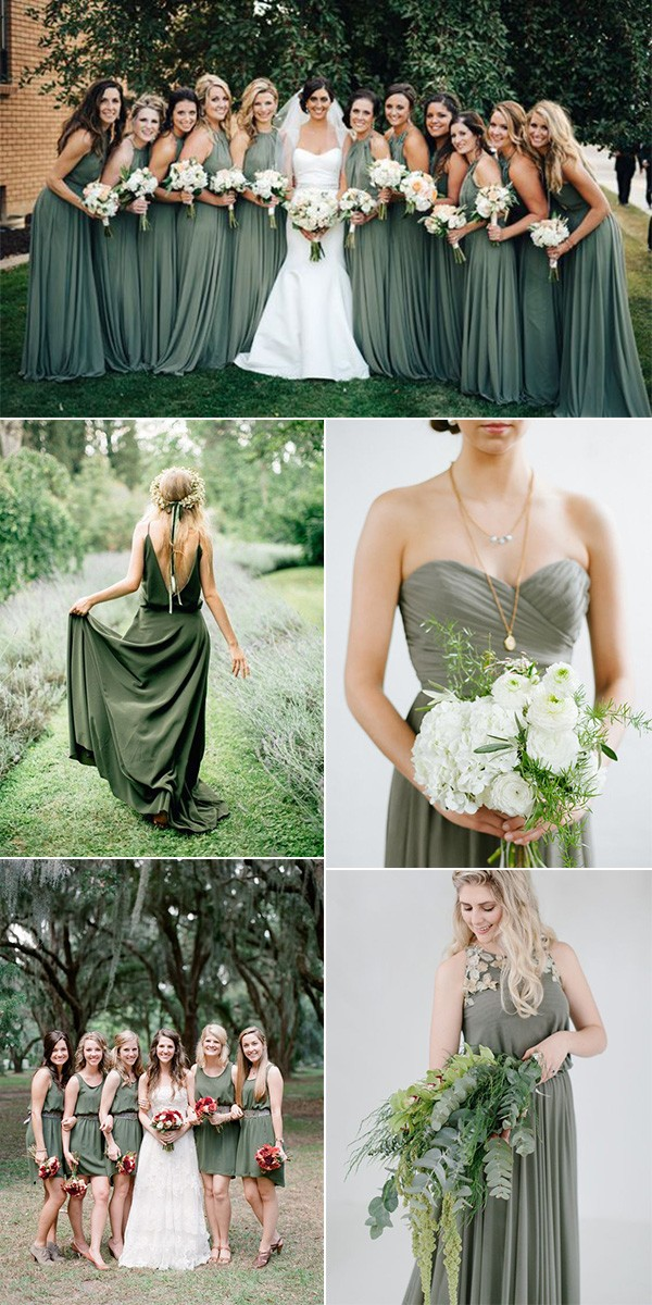 trending olive green bridesmaid dresses