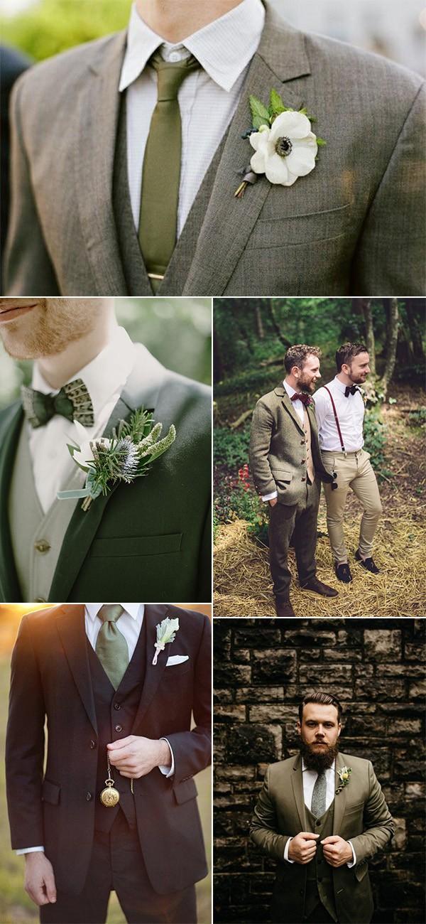 trending olive green groom attire wedding ideas