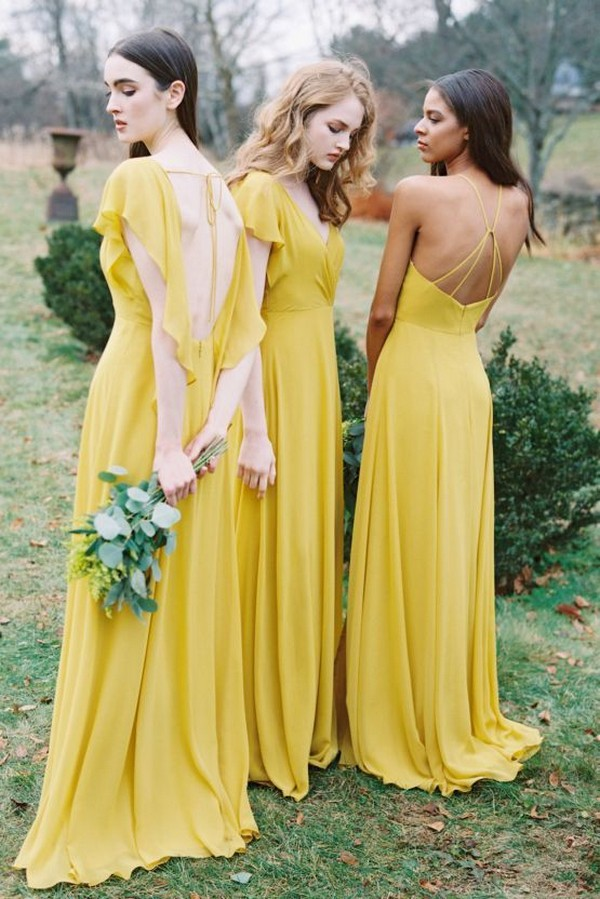 trending yellow bridesmaid dresses from Jenny Yoo