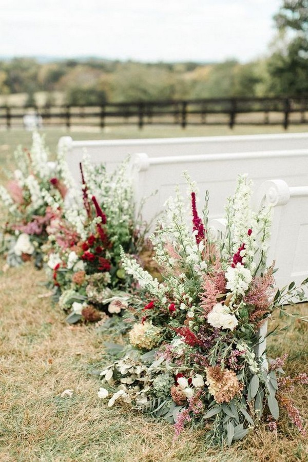 wedding aisle decoration ideas with fall floral
