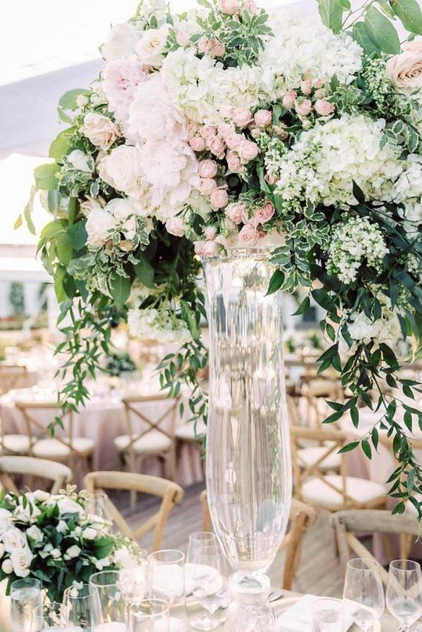 whimsical floral tall wedding centerpiece ideas