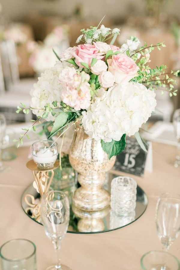 white and pink spring wedding centerpiece