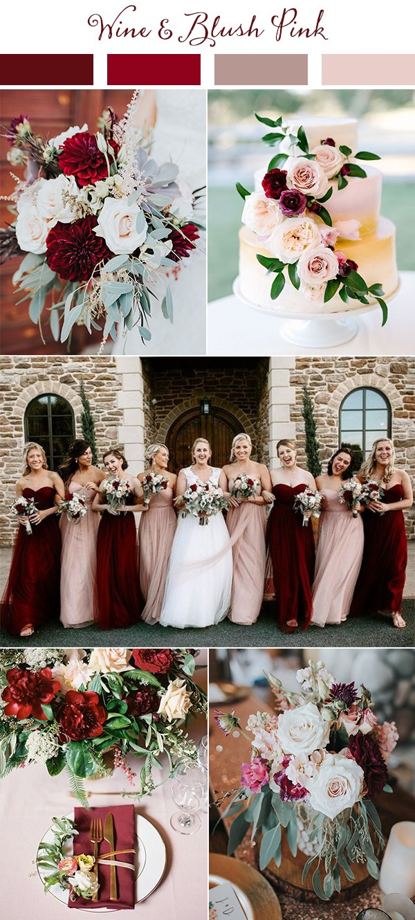 wine and blush pink wedding color ideas for 2019