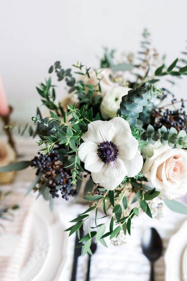 White anemone, roses, dollar gum & privet berries wedding bouquet